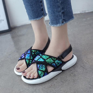 Black/White/Blue Sweet Shining Sandals SP1812493