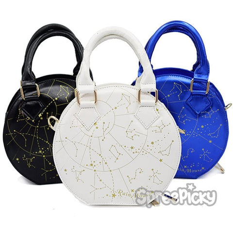 Black/White/Navy Constellation Astrology Shoulder Bag SP178837