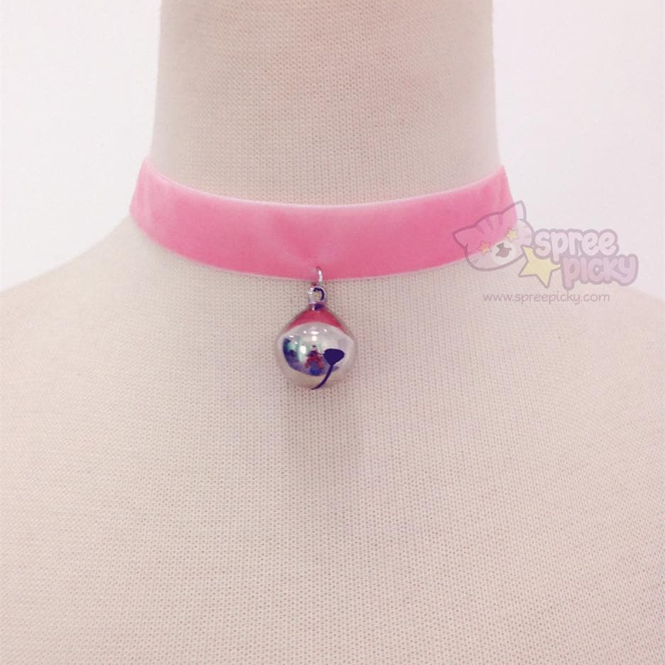 Load image into gallery viewer black white pink bell choker sp167433