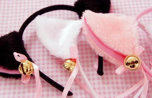 Black/White/Pink Kitty Cat Ears Maid Hair Hoop SP141189