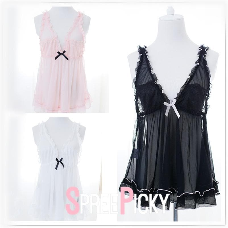 Black/White/Pink Sheer Ruffled Nightgown SP179272