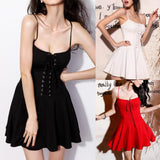 Black/White/Red Sweet Laced Chest Dress SP1812545
