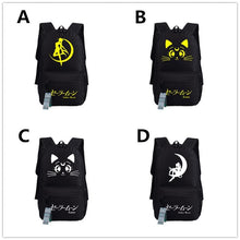 Load image into Gallery viewer, Black/White/Yellow/Navy Sailor Moon Luna Backpacks SP179426