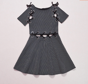 Black/White Across Laced Dress SP179544