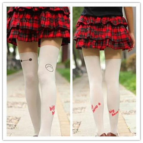 Black/White Big Hero Baymax Fake Over Knee Thigh High SP152794 - SpreePicky  - 2