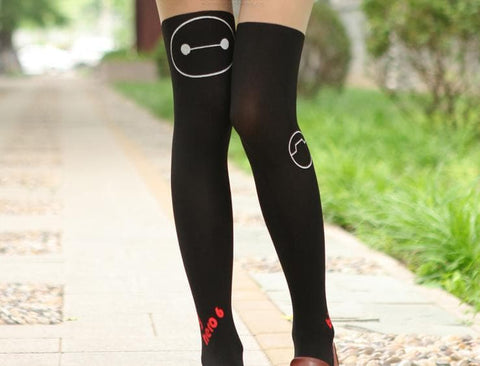 Black/White Big Hero Baymax Fake Over Knee Thigh High SP152794 - SpreePicky  - 6