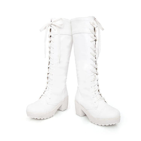 Black/White British Style Long Boots SP153966 - SpreePicky  - 8