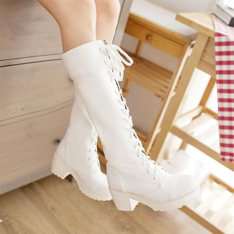 Black/White British Style Long Boots SP153966 - SpreePicky  - 5