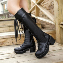 Load image into Gallery viewer, Black/White British Style Long Boots SP153966 - SpreePicky  - 7