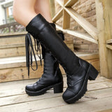 Black/White British Style Long Boots SP153966 - SpreePicky  - 7