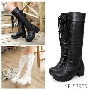 Final Stock! Black/White British Style Long Boots SP153966