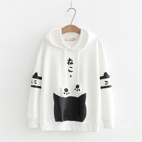Black/White Cat Printing Hoodie Pullover SP1812448
