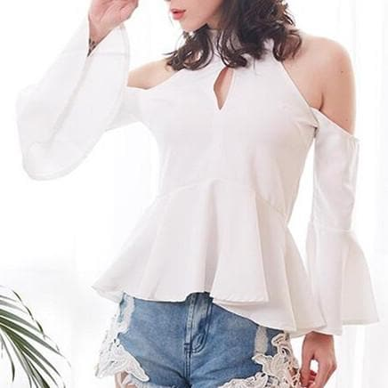 Black/White Chest Hollow Out Halter Shirt SP1812122