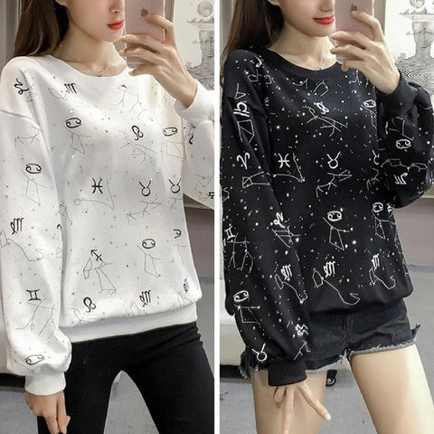 Black/White Constellation Printing Couples Pullover SP1811724