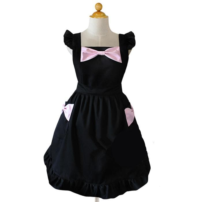 Black/White Cute Bows Maid Apron SP141183 - SpreePicky  - 1