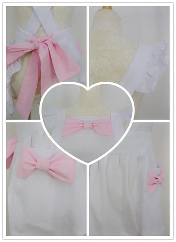 Black/White Cute Bows Maid Apron SP141183 - SpreePicky  - 5