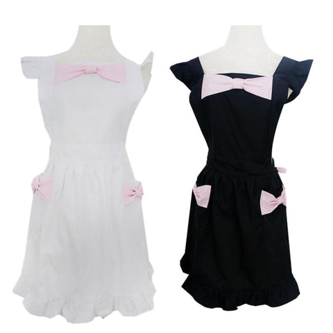 Black/White Cute Bows Maid Apron SP141183 - SpreePicky  - 2