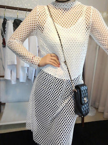 Black/White Fishnet Mesh Midi Top SP1710352