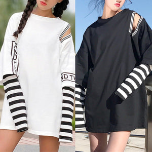 Black/White Gothic Retro Long Sleeve Shirt SP1812636