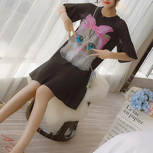 Black/White Kawaii Cat Falbala Dress SP1812528