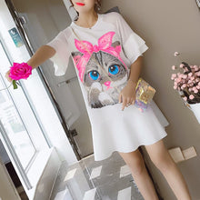 Load image into Gallery viewer, Black/White Kawaii Cat Falbala Dress SP1812528