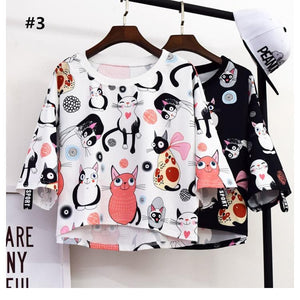 Black/White Kawaii Cat Printing T-Shirt SP1812243