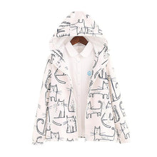 Load image into Gallery viewer, Black/White Kawaii Chalk Cat Printing Zipper Hoodie Coat SP179072