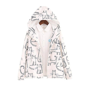 Black/White Kawaii Chalk Cat Printing Zipper Hoodie Coat SP179072