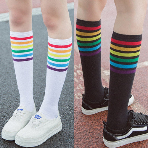 Black/White Kawaii Rainbow Preppy Style Socks SP1812639