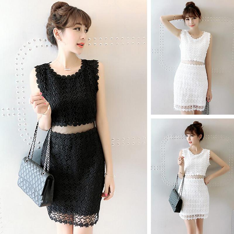 Black/White Lace Girl 2 Piece Dress SP152365 - SpreePicky  - 1