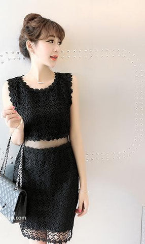 Black/White Lace Girl 2 Piece Dress SP152365 - SpreePicky  - 3