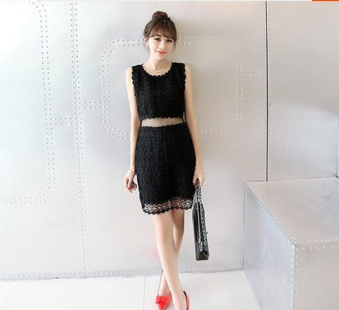 Black/White Lace Girl 2 Piece Dress SP152365 - SpreePicky  - 2