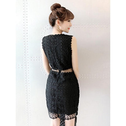 Black/White Lace Girl 2 Piece Dress SP152365 - SpreePicky  - 4