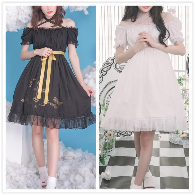 Black/White Lolita Gothic Off Shoulder Dress SP179972