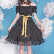 Load image into Gallery viewer, Black/White Lolita Gothic Off Shoulder Dress SP179972
