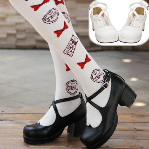 Black/White Lolita Heart Cross Bandage Princess Shoes SP168062