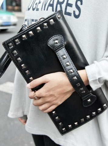 Black/White Rivet Massge Hand Bag/Shoulder Bag SP154298 - SpreePicky  - 6