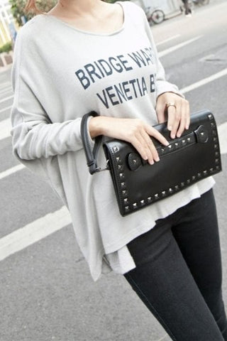 Black/White Rivet Massge Hand Bag/Shoulder Bag SP154298 - SpreePicky  - 5