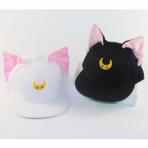 Black/White Sailor Moon Luna/Artemis Beanie Kitty Cap Snapback SP153109 - SpreePicky  - 2