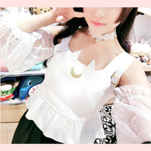 Load image into Gallery viewer, Black/White Sailor Moon Suspender Lace Shirt SP1811991