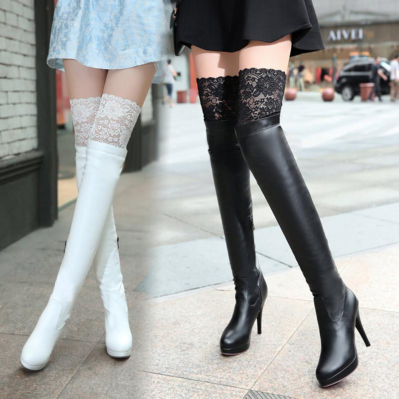 Black White Sexy Lace Knee-High Boots SP168179 - SpreePicky 1a35ed30aa0e