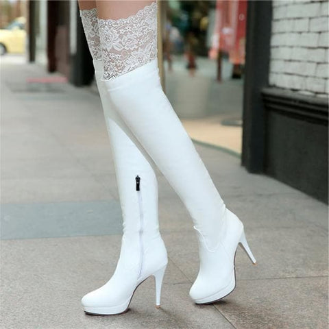 Black/White Sexy Lace Knee-High Boots SP168179