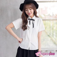 Load image into Gallery viewer, Black/White Short Sleeve Woman Blouse T-shirt Top with Ribbon Bow SP152017 Kawaii Aesthetic Fashion - SpreePicky