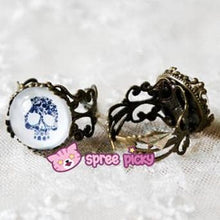 Load image into Gallery viewer, Black/White Skull Vintage Ring SP152613 Kawaii Aesthetic Fashion - SpreePicky