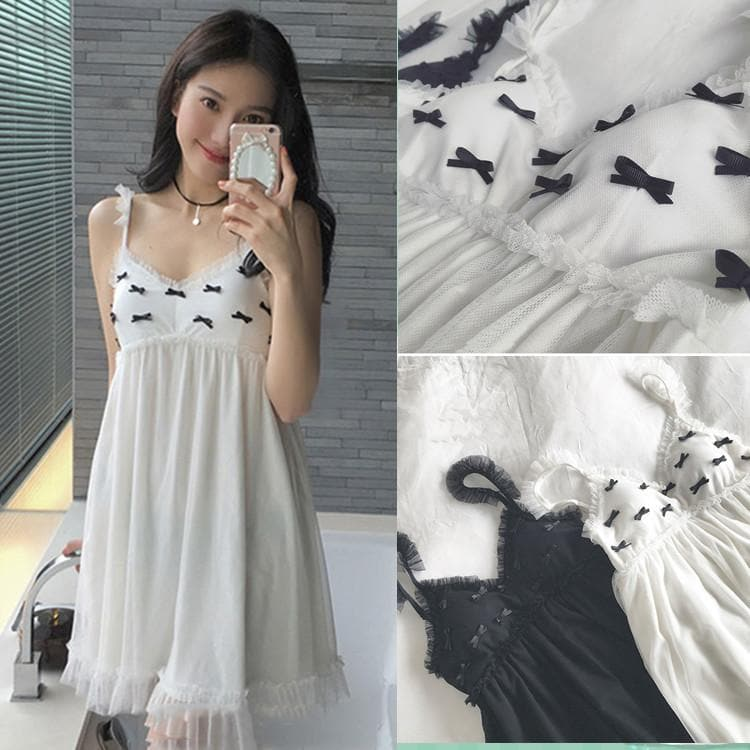 Black/White Sweet Bows Lace Nightgown Dress SP179812 - SpreePicky