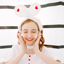Load image into Gallery viewer, Black/White Sweet Heart Rabbit Ear Hairband SP1811877