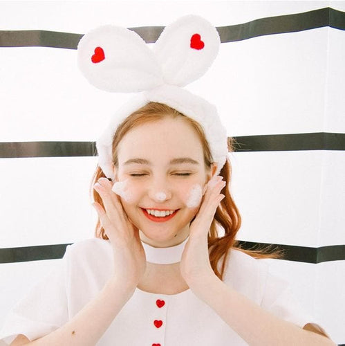 Black/White Sweet Heart Rabbit Ear Hairband SP1811877