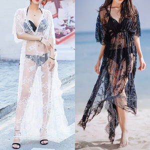 Black/White Sweet Lace Long Overall Dress SP1812535