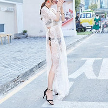 Load image into Gallery viewer, Black/White Sweet Lace Long Overall Dress SP1812535