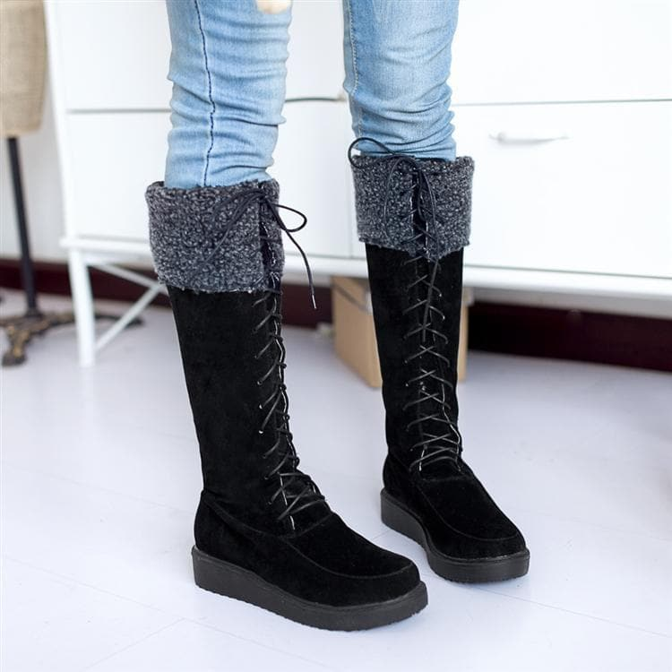 Black/Yellow/Beige Fleece High Snow Boots SP168177